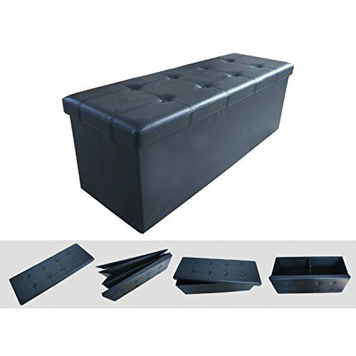 Todeco -Folding Storage Ottoman 110x38x38cm - Large Foldable Stool Faux Leather Toy Box Bench Pouffe  sc 1 st  Pinterest & Todeco -Folding Storage Ottoman 110x38x38cm - Large Foldable Stool ... Aboutintivar.Com