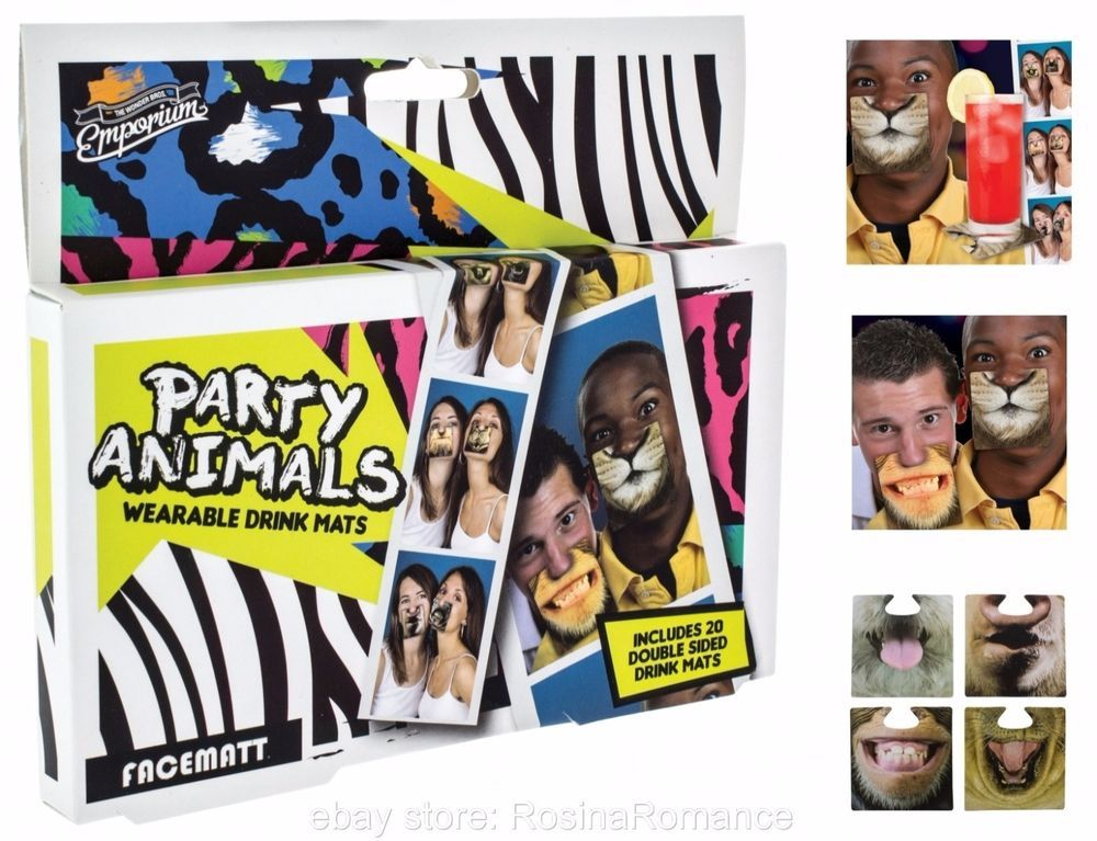 Animal Face Mats Beer Coasters Funny Joke Drinking Game Pub Fun Hen Stag Party 5032331042485 Ebay Face Coasters Animal Party Animal Faces