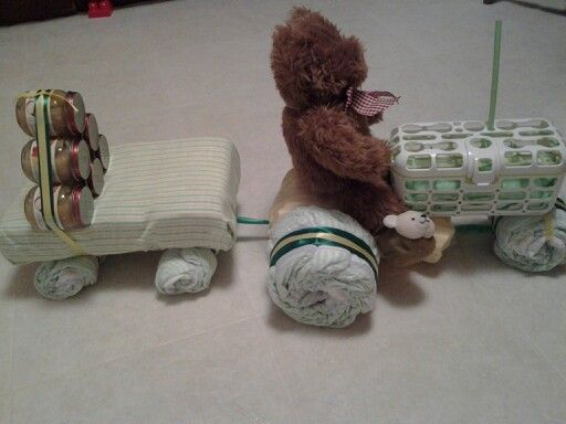 Tractor & wagon baby shower gift