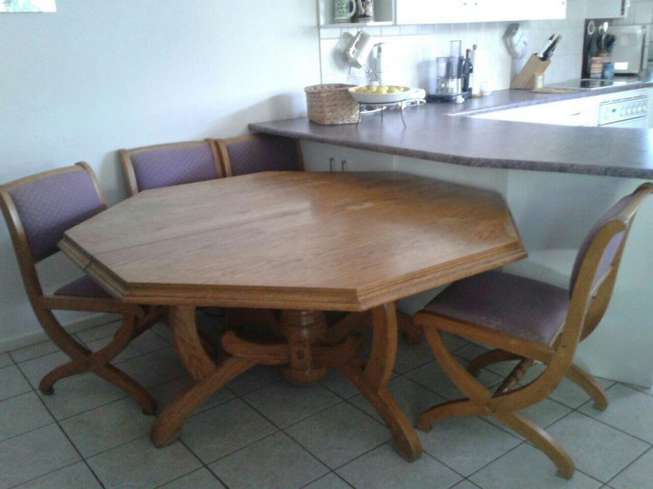 Solid Oak Dining Room Table With Chairs Somerset West Olx Linden Furniture Set Two Ebay