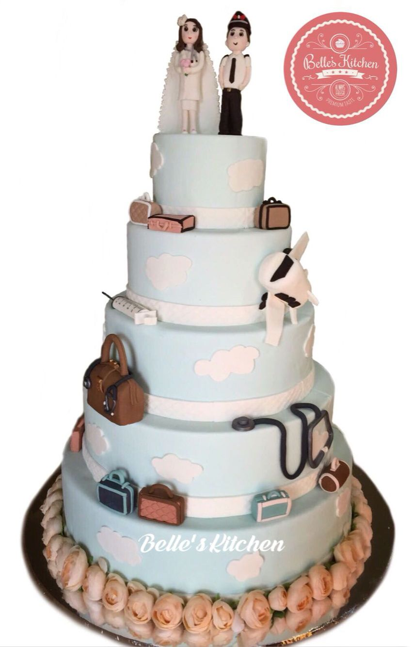Doctor & Pilot Theme 5 Tier Wedding Cake By Belle\'s Kitchen, To ...
