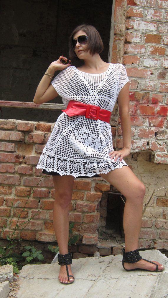 Crochet handmade dress tunic Cotton mixed with by SweetKipod, $110.00