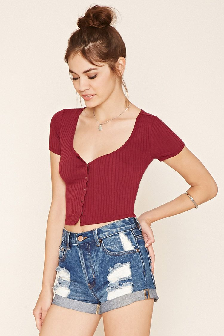 f84391c8c90ea Forever 21 Button-Front Crop Top