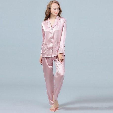 1b57aacb3ec40 22 Momme Silk Pajamas Set Long Sleeve Shirt   Long Pants