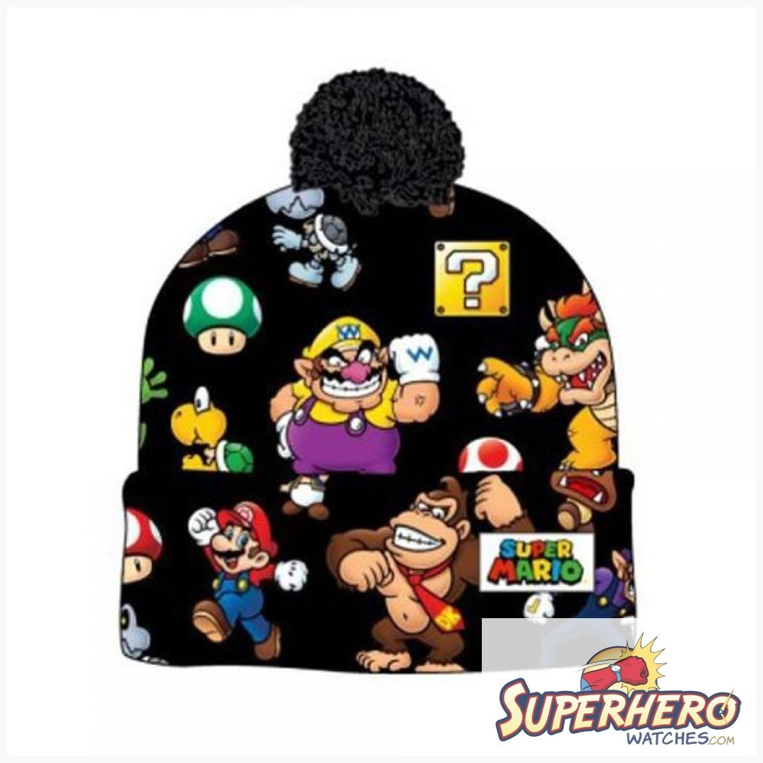 bc0a5ec6612 Be A Hero and shop at SuperheroWatches.com. 5% of each order goes to  charity. Super Mario Bros. Sublimated Print Cuff Knit With Pom Beanie   lover  love ...