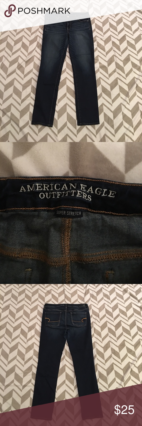 American Eagle Size 16 Long Skinny Jeans American Eagle Size 16 Long Skinny Fit. These were my favorite jeans, but they're too big now. They show no signs of wear. Stretchy and super comfy. American Eagle Outfitters Jeans Skinny