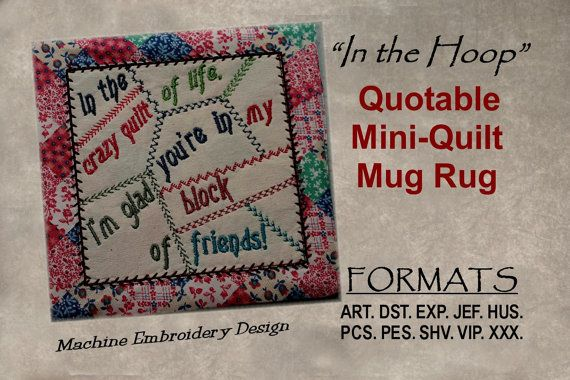 "Friendship Crazy Quilt of Life, Mini Quilt, ITH Machine Embroidery DIGITAL DOWNLOAD, Quilt is completely finished ""In the Hoop"""