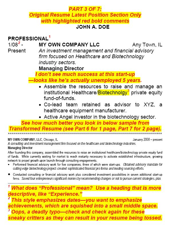 HOW TO TRANSFORM A RESUME - Part 3 of 7 The Latest Position section
