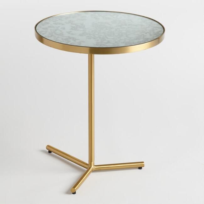 Antique Mirror Beau Accent Table Gold - Metal by World Market Art