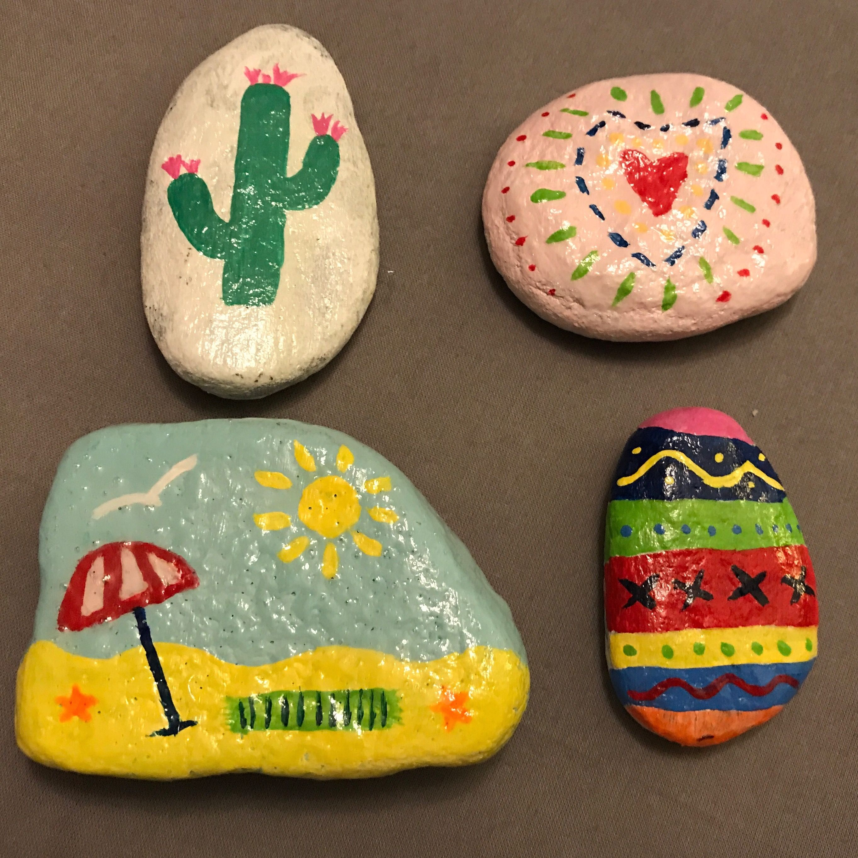 Rock Painting Diy Cactus Beach Heart Fun Easy The Kindness