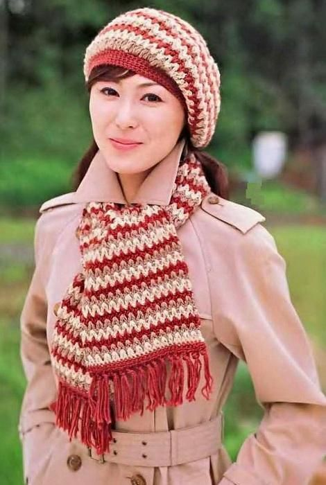 Classic women beret hat scarf set source japanese magazines series free crochet hat and scarf patterns dt1010fo