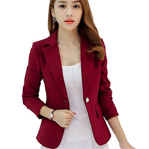 facead35b49 HaoMing Women Clothing HaoMing Long Sleeve Solid Color Casual Work Office  Blazer Jacket for Women Girls