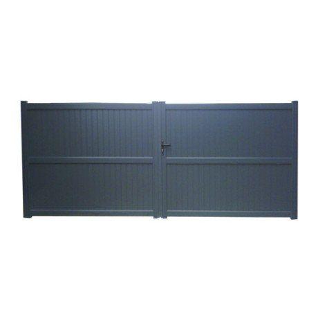 Portail Battant Aluminium Noyal Gris Anthracite Naterial L 350 X H 180 Cm Portail Bois Portail Facade Bois
