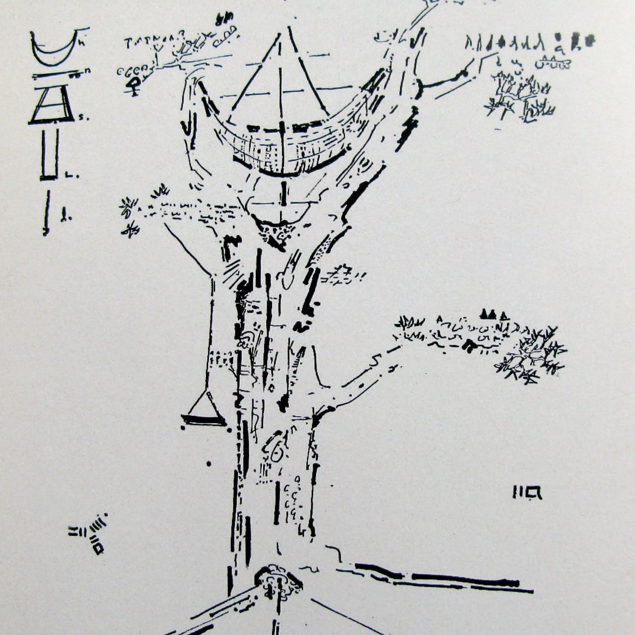 GORDON MATTACLARK Tree House or Tree Dance 1971 Pencil