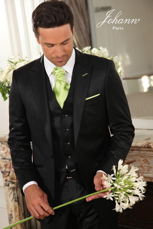 johann costume 3 pices noir satin et anis - Costume Homme 3 Pieces Mariage
