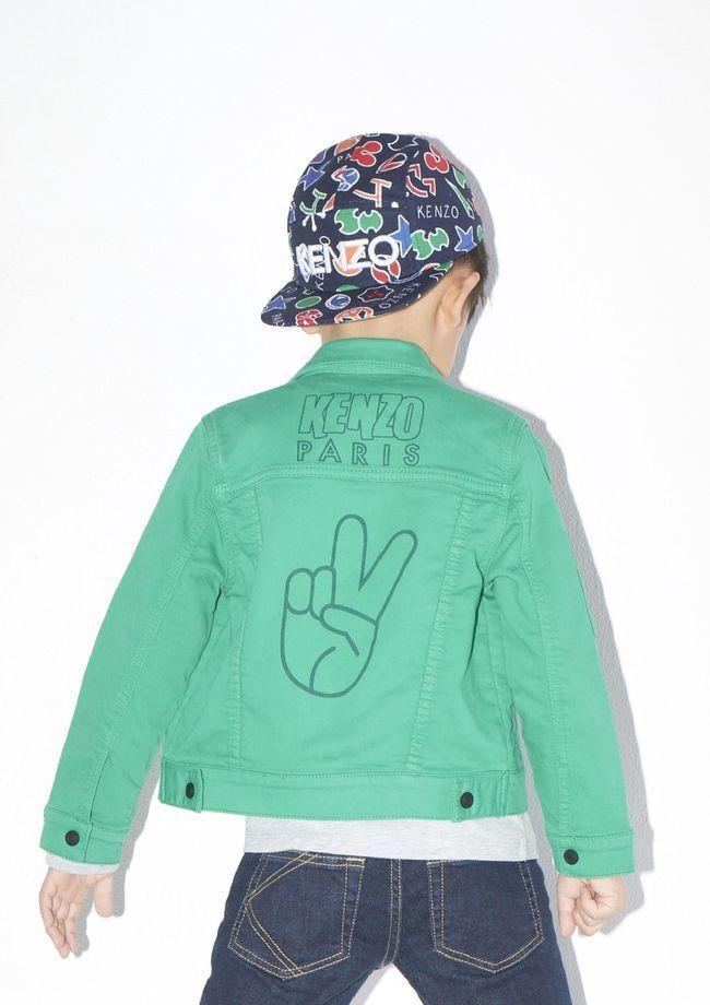 d52c6e7b429fd Super cute Kenzo boys green denim jacket with peace finger and graphic  baseball hat. Kenzo Kids Fall 2017 Lookbook.  kenzo  kenzokids  boy   fashion   ...