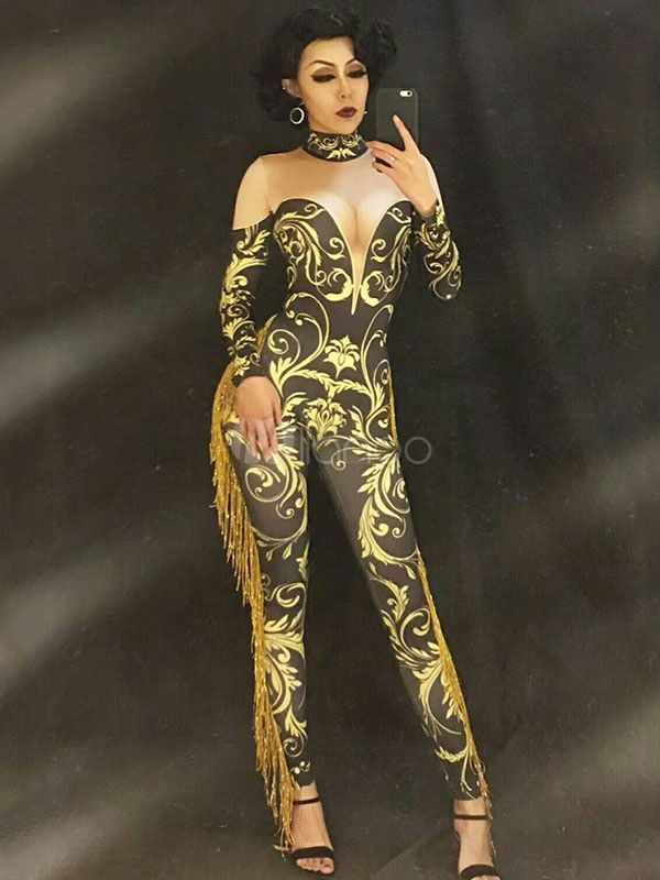 Jazz Dance Costume Women Jumpsuits Gold Long Sleeve Illusion Sexy Club Wear 7e6adf34b3f3