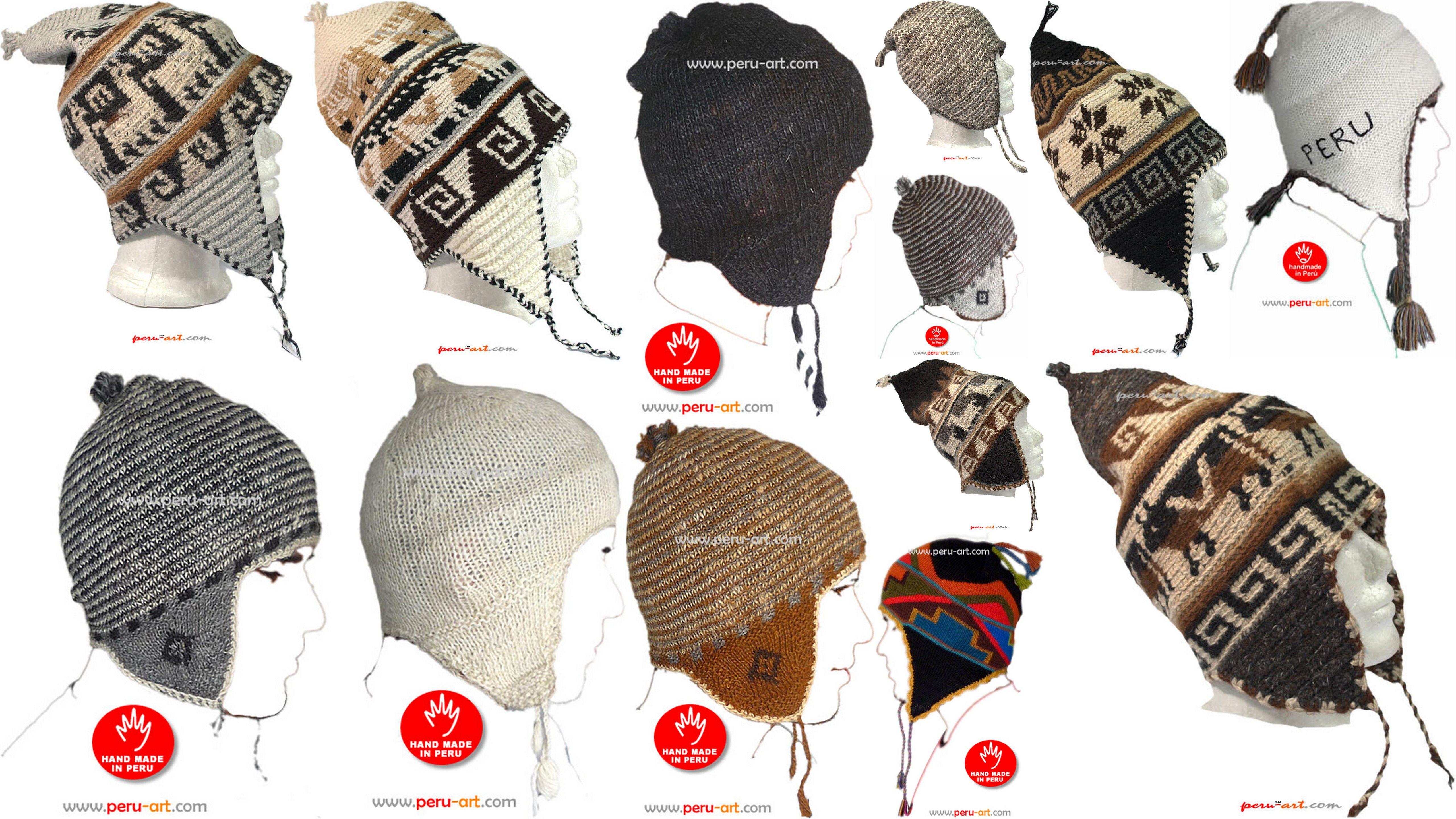Chullos en lana de Alpaca rustica y tejidas íntegramente a mano por ...