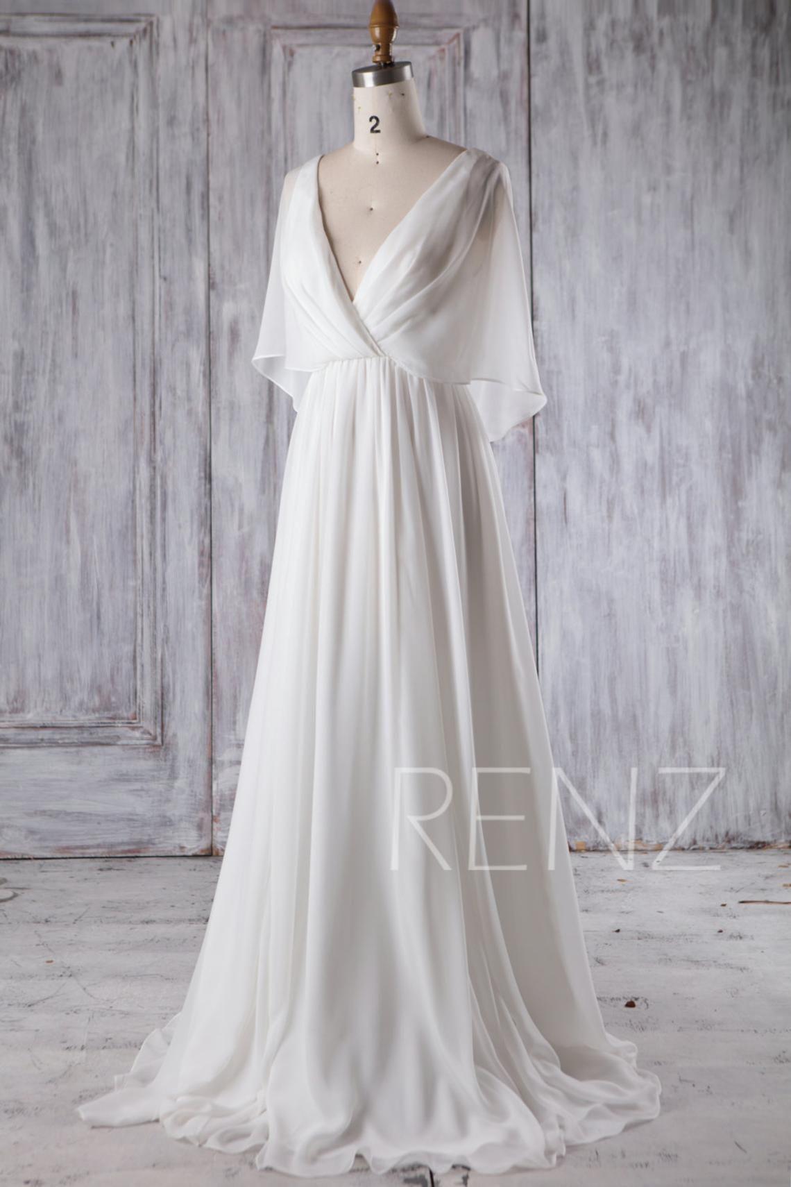 Beach wedding dress white chiffon evening dress long