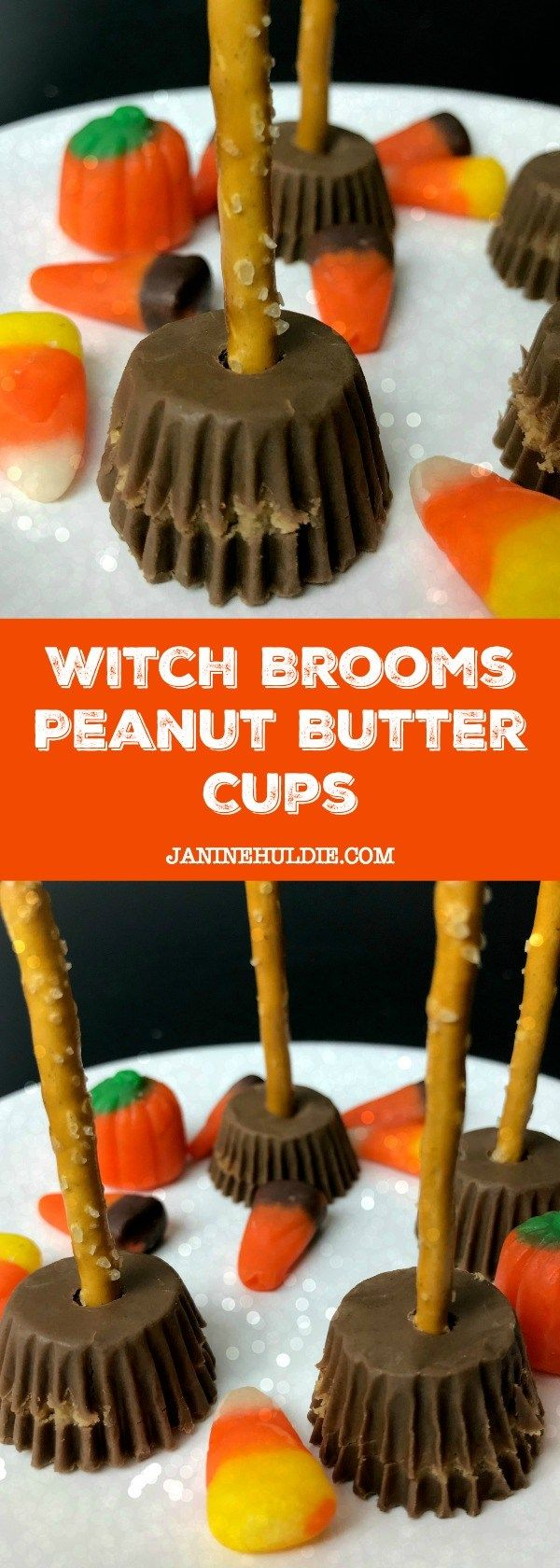 witch brooms peanut butter cups candy | recipe | halloween