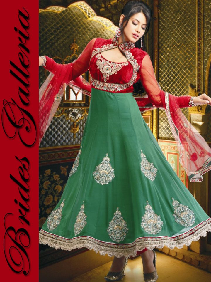 Green And Red Faux Georgette Anarkali Style Churidar Kameez