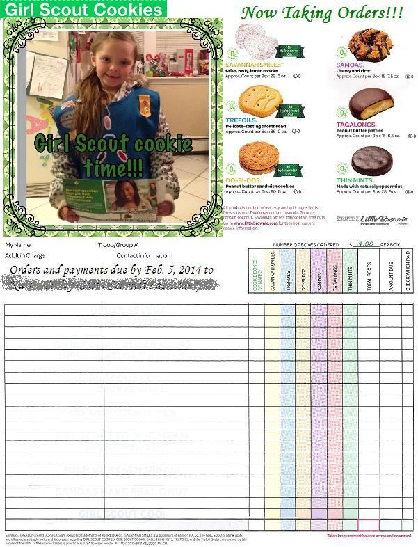 Girl Scout Cookie Time!!! | Order form, Girls and Gs cookies