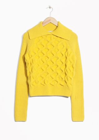 & Other Stories image 2 of Folded Turtleneck Sweater in Yellow