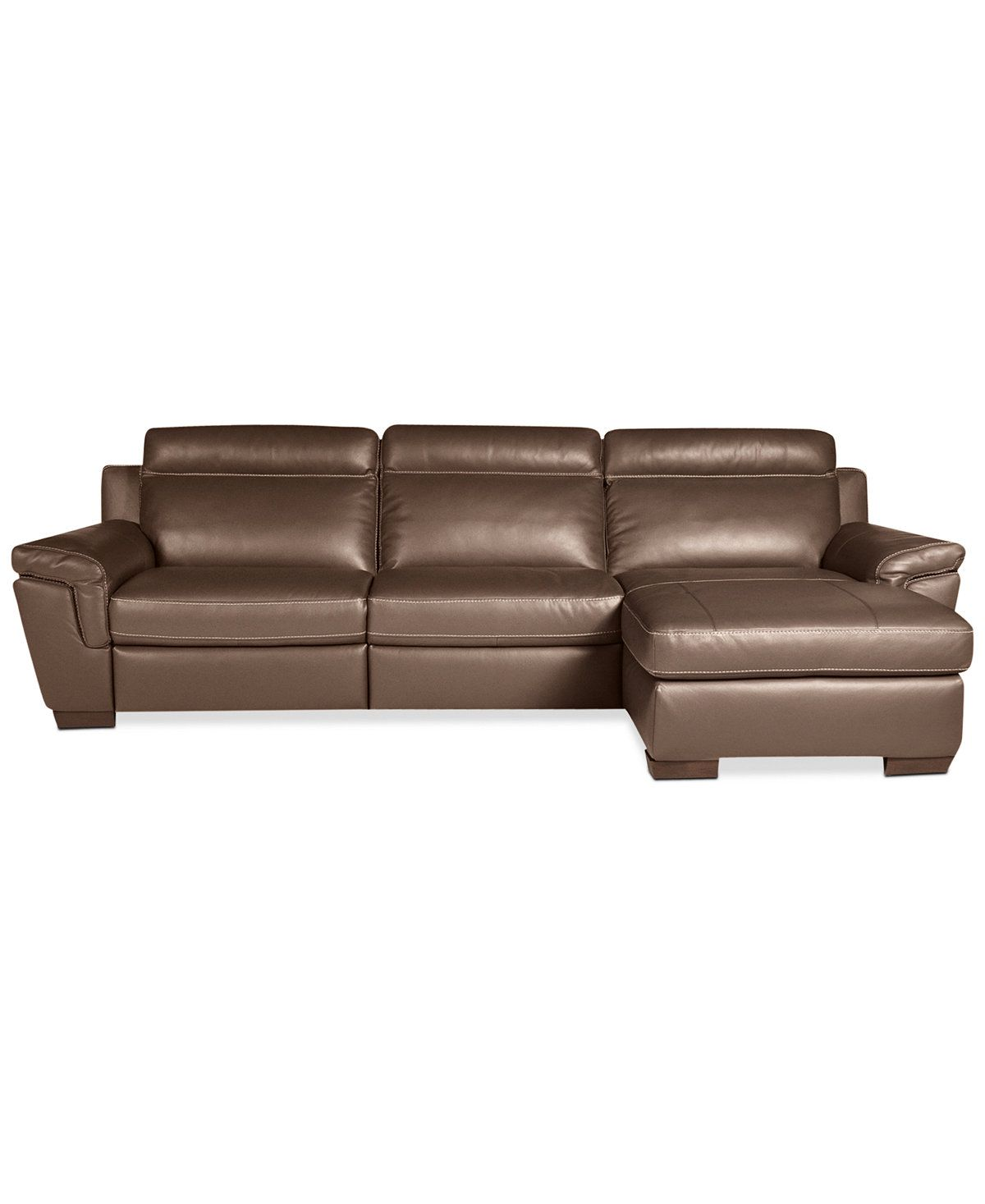 Julius 3 Pc Leather Sectional Sofa With Chaise With 2 Power Recliners Only At Macy S Furn Leather Chaise Sectional Sectional Sofa With Chaise Leather Chaise