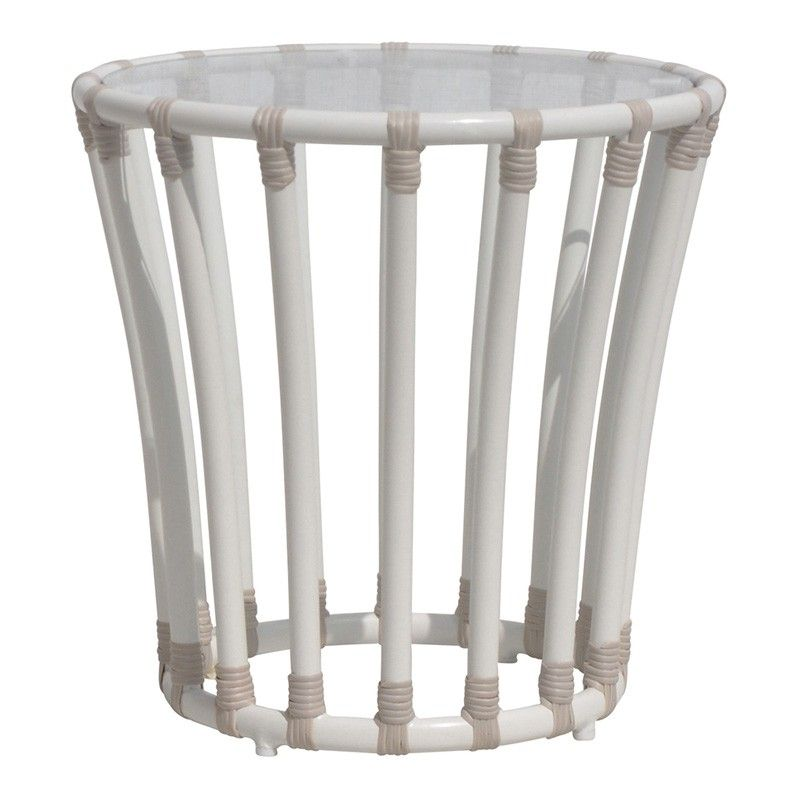 Circular Outdoor End Table in Dove White  #furniture #homedecor