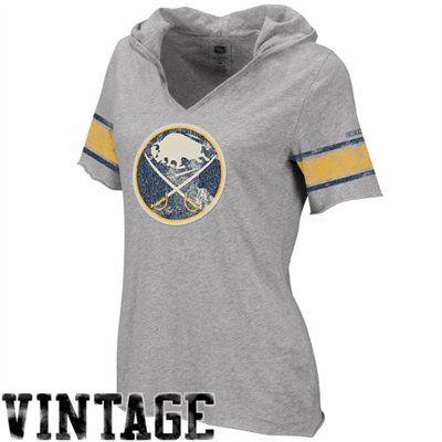 6adc27806 Reebok Buffalo Sabres Ladies Classics Hooded Hockey Premium T-Shirt - Ash