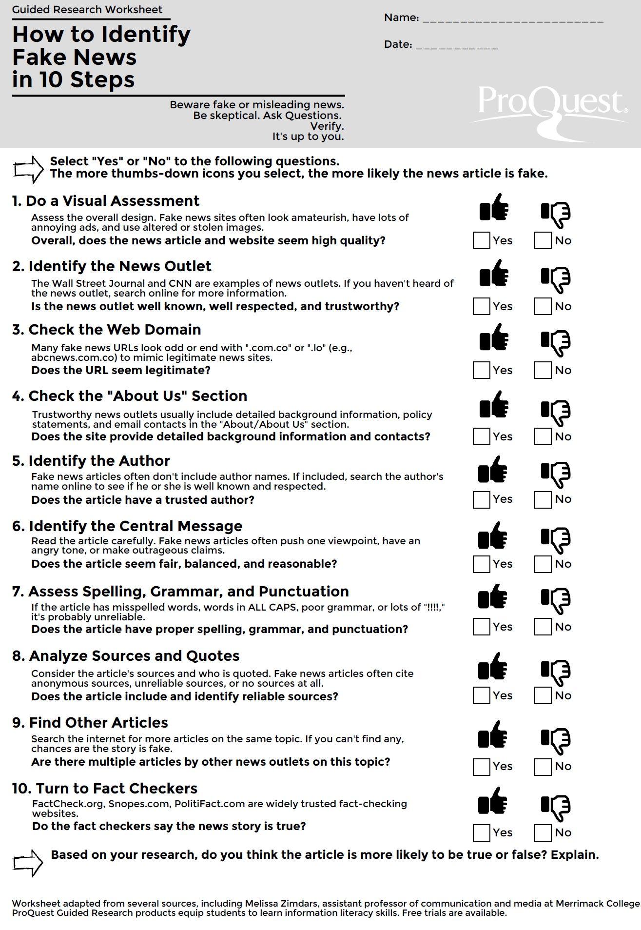 How To Identify Fake News In 10 Steps Fakenews Infolit Lessonplans Fake News Lessons Information Literacy Media Literacy