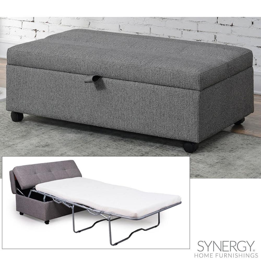 Synergy Home Furnishings Grey Fabric Sleeper Ottoman in