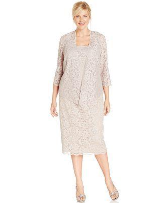 Alex Evenings Plus Size Lace Jacket Dress Mother Of The Bride