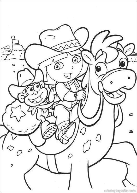 Dora the Explorer riding a horse with Boots coloring pages | Dora ...