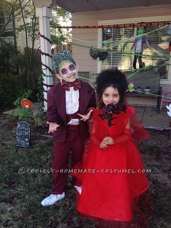 Beetlejuice And Lydia Ready To Walk Down The Aisle Couples Costumes Halloween Costumes For Kids Kids Beetlejuice Costume