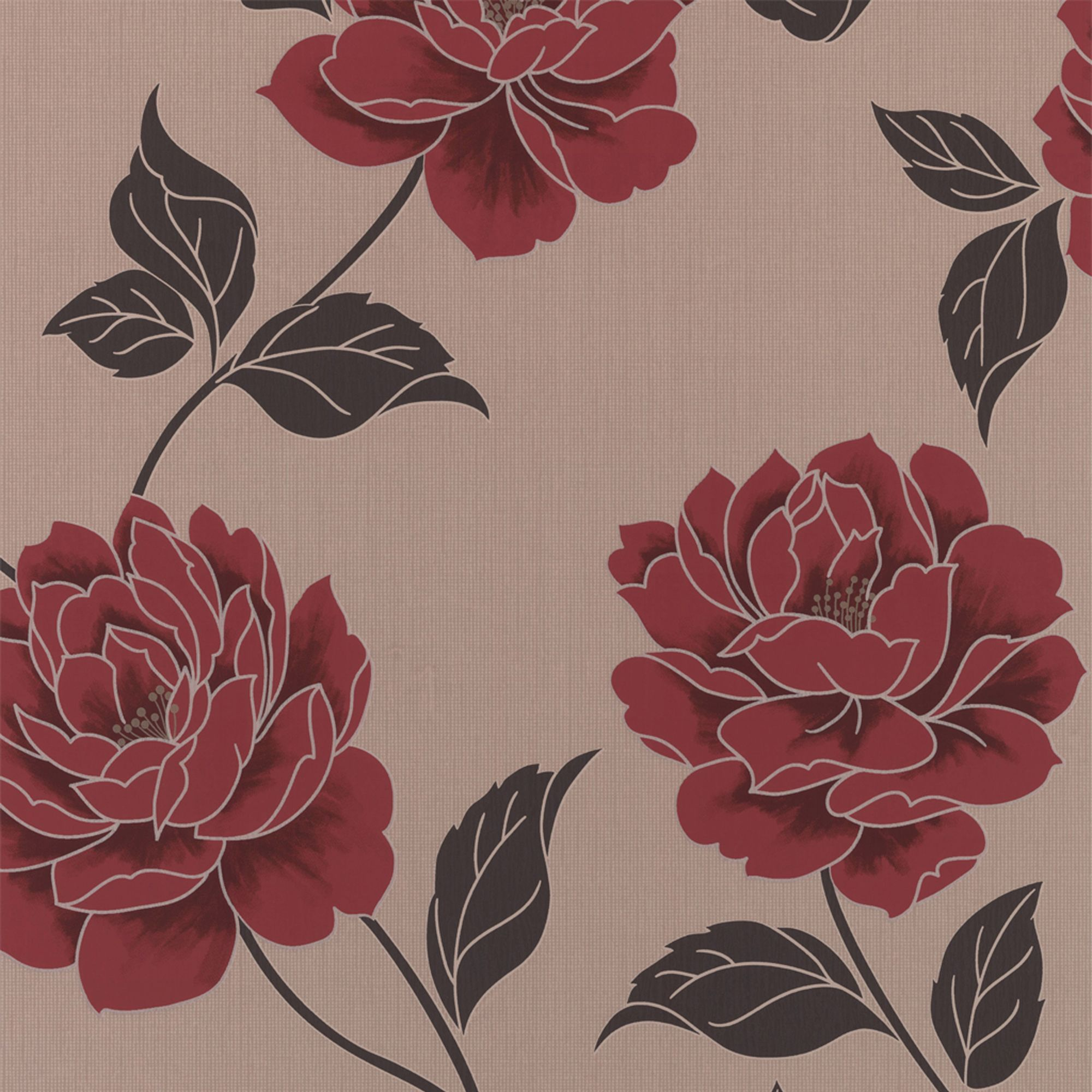 Ella Floral Cream & Red Wallpaper Departments DIY at B