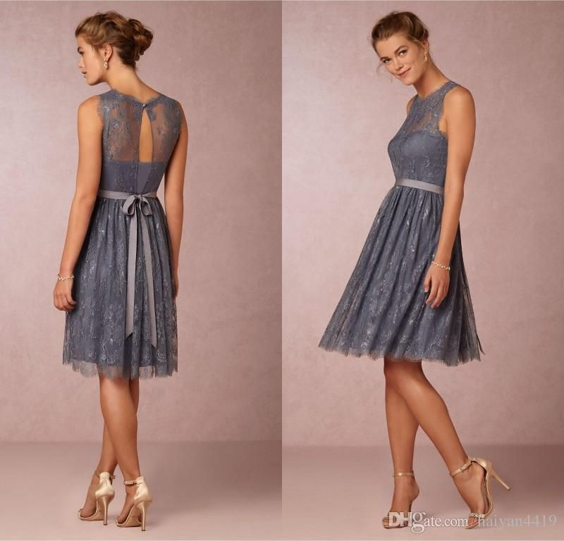5ed231b578b5 2016 New Cheap Bridesmaid Dresses Jewel Neck Wedding Guest Wear Gray Lace  Beaded Summer Beach Sashes Short Party Dress Maid of Honor Gowns Online  with ...