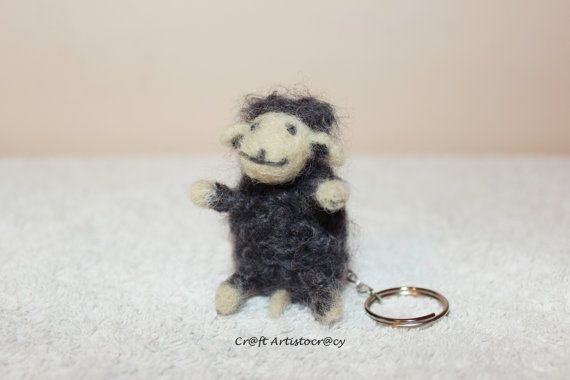 Smiley sheep felt key chain by CraftArtistocracy on Etsy