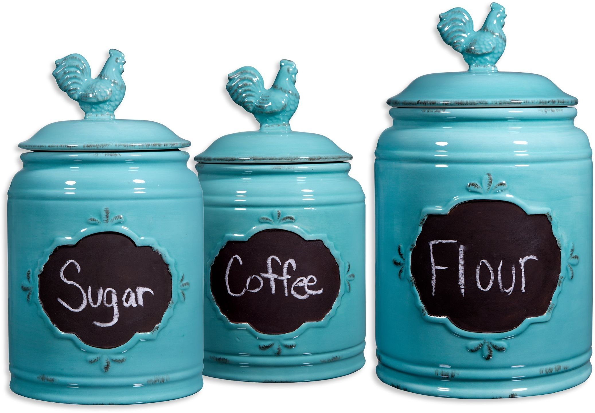 Charmant Ceramic Blue Set Of 3 Rooster Chalkboard Canisters Kitchen