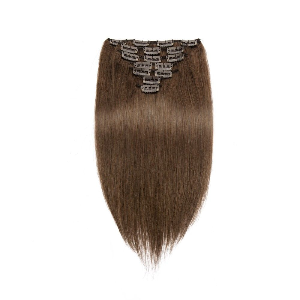 7pcs Straight Clip In Remy Hair Extensions #4 Chocolate Brown #omgnb #clipinhumanhairextension