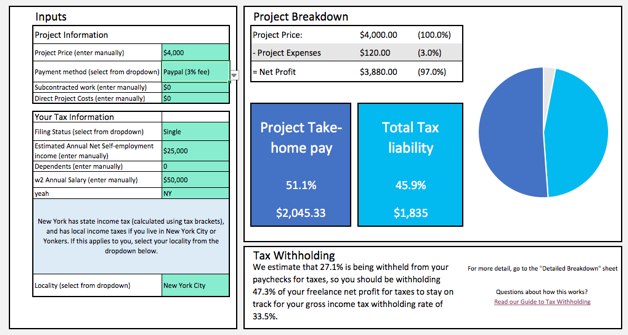 Freelance Project Tax Calculator Calculate Taxes And TakeHome Pay