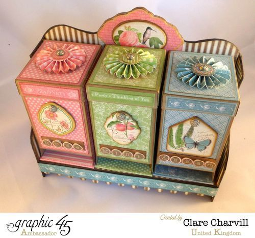 Tea Time Trio - Clare Charvill Ambassador (UK) Tea party teabag dispensers. Graphic 45 papers.