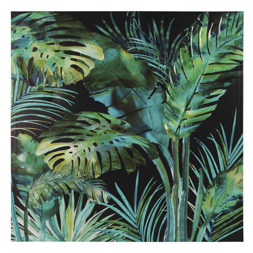 toile feuillage 80x80 maisons du monde tropical jungle bedroom green blue chambre th me. Black Bedroom Furniture Sets. Home Design Ideas