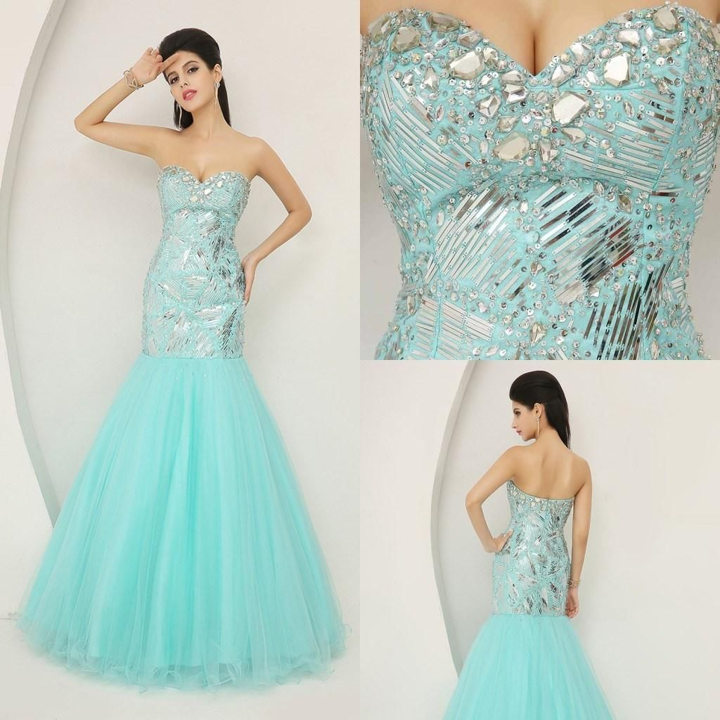 Cheap IN STOCK Prom Dresses - Discount Real Image Blue Beaded Prom ...