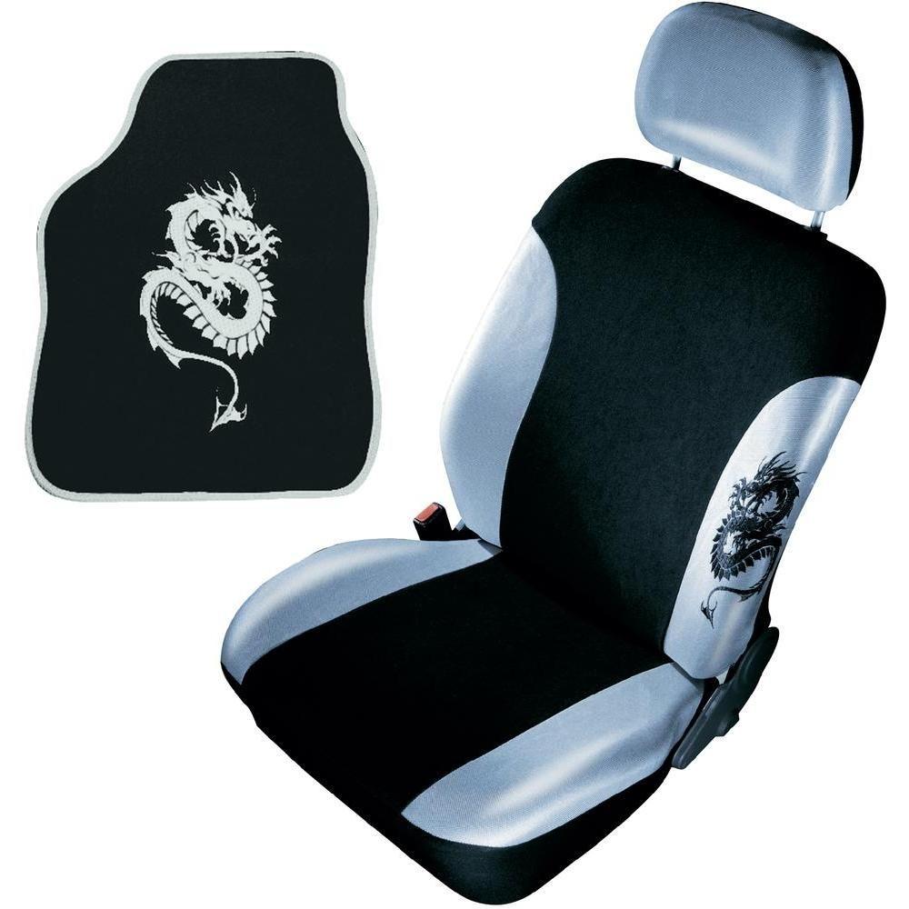 Universal Car Seat Cover Mat Set Silver Dragon