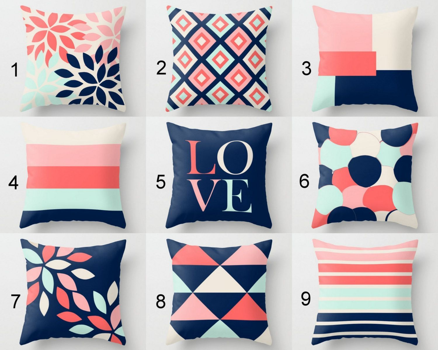 Throw Pillow Covers, Decorative Pillows, Cushion Cover, Geometric, Love,  Floral,
