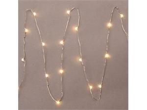 """Gerson 36903 - 36"""" 18 Light Silver Wire Warm White Battery Operated LED Micro Miniature Christmas Light String Set with Timer"""