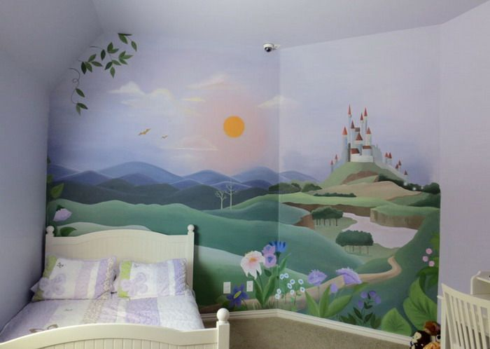 Girls room with princess castle wall mural wallpaper for Castle kids room