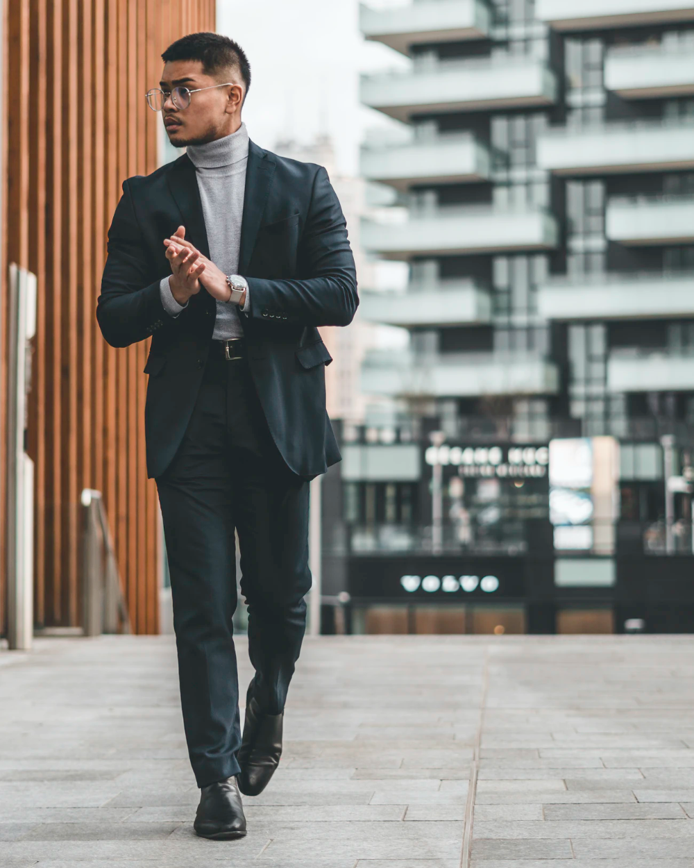 Man In Black Suit Standing On Sidewalk During Daytime Photo Free Suit Image On Unsplash Nice Dresses Turtle Neck Men Jacket Images