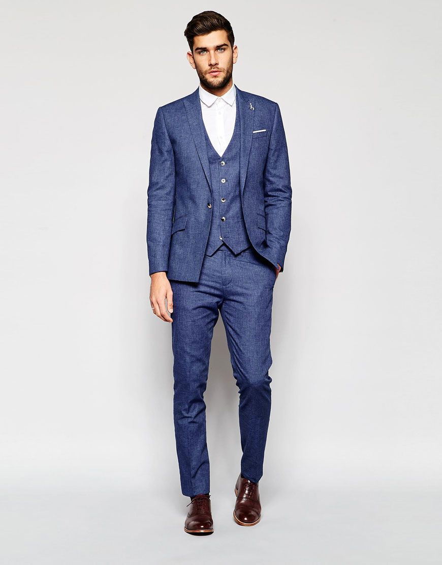 Image 1 of river island suit in linen in blue